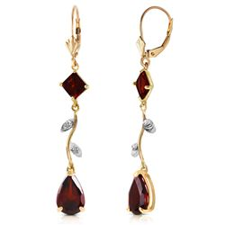 ALARRI 3.97 Carat 14K Solid Gold Chandelier Earrings Diamond Garnet