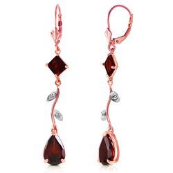 ALARRI 3.97 CTW 14K Solid Rose Gold Chandelier Earrings Diamond Garnet