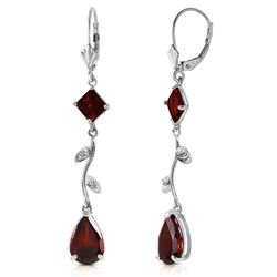ALARRI 3.97 Carat 14K Solid White Gold Chandelier Earrings Diamond Garnet