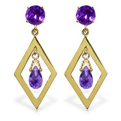 ALARRI 2.4 Carat 14K Solid Gold Chandelier Earrings Amethyst