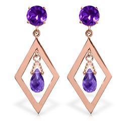 ALARRI 2.4 Carat 14K Solid Rose Gold Chandelier Earrings Amethyst