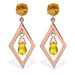 ALARRI 2.4 Carat 14K Solid Rose Gold Citrine Dangling Earrings