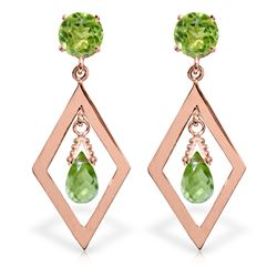 ALARRI 2.4 CTW 14K Solid Rose Gold Peridot Dangling Earrings
