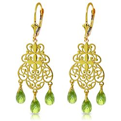 ALARRI 3.75 Carat 14K Solid Gold En Trend Peridot Earrings