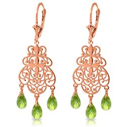 ALARRI 3.75 CTW 14K Solid Rose Gold Peridot Filigree Earrings
