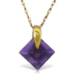 ALARRI 1.16 Carat 14K Solid Gold Necklace Natural Purple Amethyst