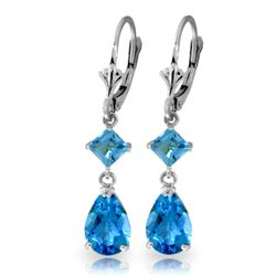 ALARRI 4.5 CTW 14K Solid White Gold Guard Your Heart Blue Topaz Earrings