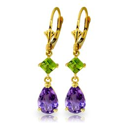 ALARRI 4.5 Carat 14K Solid Gold Leverback Earrings Amethyst Peridot