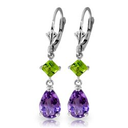 ALARRI 4.5 Carat 14K Solid White Gold Leverback Earrings Amethyst Peridot