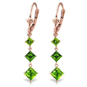 ALARRI 4.79 CTW 14K Solid Rose Gold Chandelier Earrings Peridot