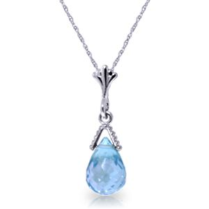 ALARRI 2.5 CTW 14K Solid White Gold Necklace Briolette Blue Topaz