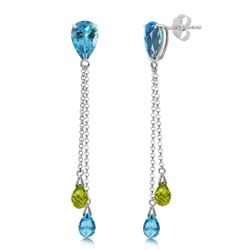 ALARRI 7.5 Carat 14K Solid White Gold Chandelier Earrings Blue Topaz Peridot
