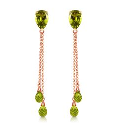 ALARRI 7.5 CTW 14K Solid Rose Gold Chain Drop Earrings Peridot