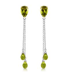 ALARRI 7.5 Carat 14K Solid White Gold All Parts Love Peridot Earrings