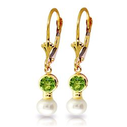 ALARRI 5.2 CTW 14K Solid Gold Leverback Earrings Pearl Peridot