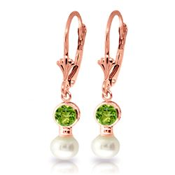 ALARRI 5.2 Carat 14K Solid Rose Gold Leverback Earrings Pearl Peridot