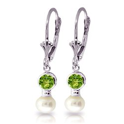 ALARRI 5.2 Carat 14K Solid White Gold Leverback Earrings Pearl Peridot