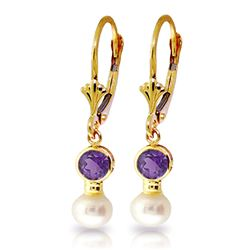 ALARRI 5.2 CTW 14K Solid Gold Leverback Earrings Pearl Amethyst