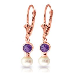 ALARRI 5.2 Carat 14K Solid Rose Gold Leverback Earrings Pearl Amethyst