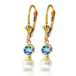 ALARRI 5.2 Carat 14K Solid Gold Leverback Earrings Pearl Blue Topaz
