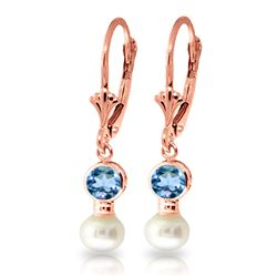 ALARRI 5.2 Carat 14K Solid Rose Gold Leverback Earrings Pearl Blue Topaz