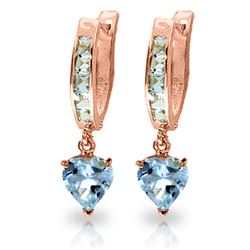ALARRI 4.1 CTW 14K Solid Rose Gold Hoop Earrings Aquamarine