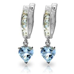 ALARRI 4.1 Carat 14K Solid White Gold Hoop Earrings Aquamarine