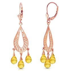ALARRI 3.75 Carat 14K Solid Rose Gold Chandelier Earrings Natural Citrine