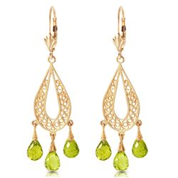 ALARRI 3.75 CTW 14K Solid Gold Chandelier Earrings Natural Peridot
