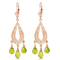 ALARRI 3.75 Carat 14K Solid Rose Gold Chandelier Earrings Natural Peridot