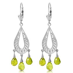 ALARRI 3.75 CTW 14K Solid White Gold Chandelier Earrings Natural Peridot