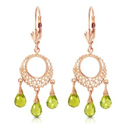 ALARRI 3.75 CTW 14K Solid Rose Gold Filigree Chandelier Earrings Peridot