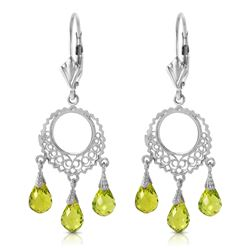 ALARRI 3.75 Carat 14K Solid White Gold Not Single Anymore Peridot Earrings
