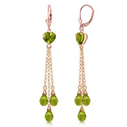 ALARRI 14K Solid Rose Gold Chandelier Earrings w/ Briolette Peridots