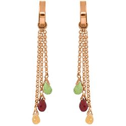 ALARRI 14K Solid Rose Gold Chandelier Earrings w/ Multi Gemstones