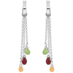 ALARRI 4.9 Carat 14K Solid White Gold Chandelier Earrings Multi Gemstones