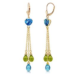 ALARRI 9.5 Carat 14K Solid Gold Chandelier Earrings Briolette Blue Topaz Pe