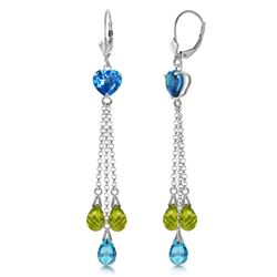 ALARRI 9.5 Carat 14K Solid White Gold Chandelier Earrings Briolette Blue Topaz Pendant