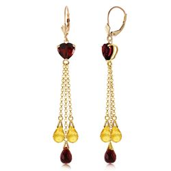 ALARRI 9.5 CTW 14K Solid Gold Chandelier Earrings Briolette Garnet Citrine
