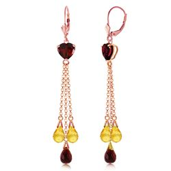 ALARRI 14K Solid Rose Gold Chandelier Earrings w/ Briolette Garnets & Citrines