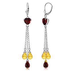 ALARRI 9.5 Carat 14K Solid White Gold Chandelier Earrings Briolette Garnet Citrine