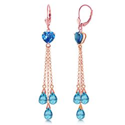 ALARRI 14K Solid Rose Gold Chandelier Earrings w/ Briolette Blue Topaz