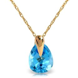 ALARRI 0.68 Carat 14K Solid Gold Necklace Natural Blue Topaz