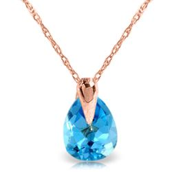 ALARRI 0.68 Carat 14K Solid Rose Gold Necklace Natural Blue Topaz