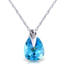 ALARRI 0.68 CTW 14K Solid White Gold Necklace Natural Blue Topaz