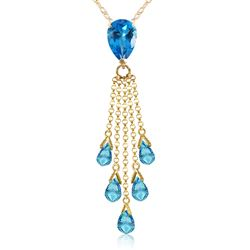 ALARRI 7.5 CTW 14K Solid Gold Stand Tall Blue Topaz Necklace