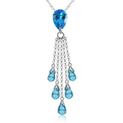 ALARRI 7.5 Carat 14K Solid White Gold Tip Of My Tongue Blue Topaz Necklace