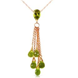 ALARRI 14K Solid Rose Gold Necklace w/ Briolette Peridots