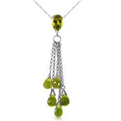 ALARRI 7.5 CTW 14K Solid White Gold Necklace Briolette Peridot