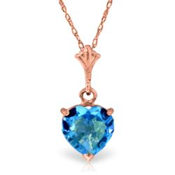 ALARRI 1.15 CTW 14K Solid Rose Gold Proud Heart Blue Topaz Necklace